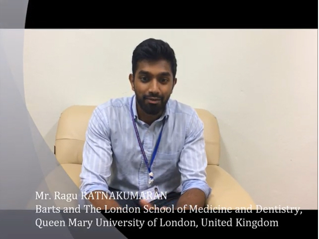 Mr. RAGU RATNAKUMARAN from Barts and The London School of Medicine and Dentistry, Queen Mary University of London, United Kingdom