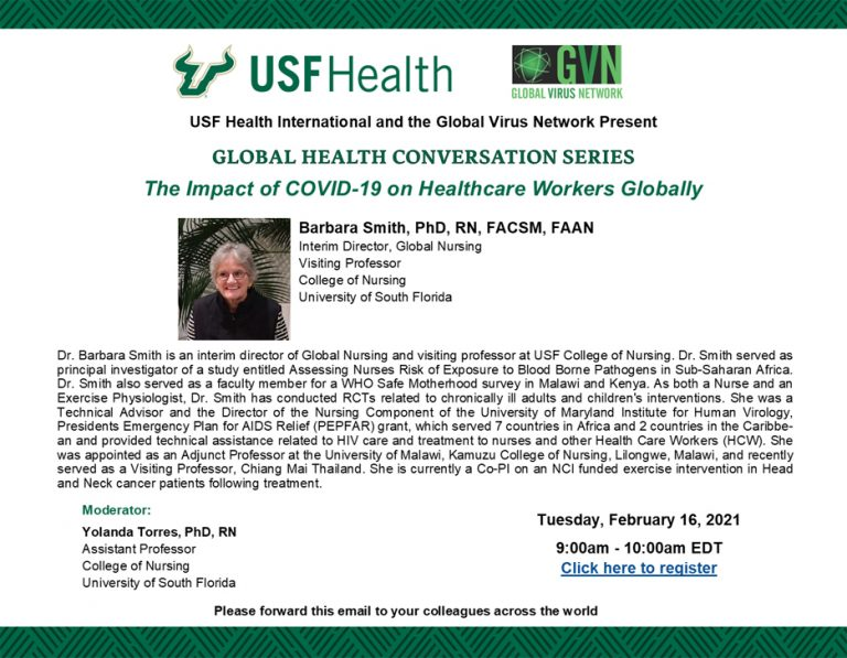 """USF Health's Global Health Conversation series: """"The Impact of COVID-19 on Healthcare Workers Globally"""""""