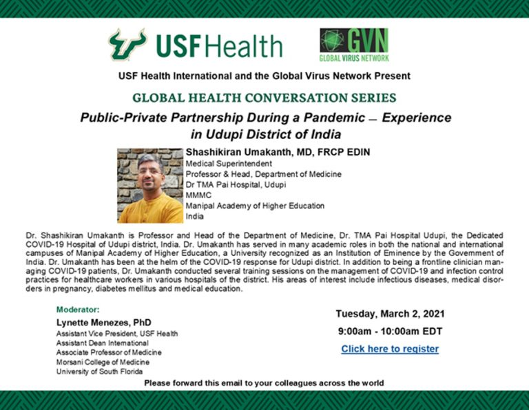 "USF Health Global Health Conversation Series ""Public-Private Partnership During a Pandemic – Experience in Udupi District of India"""
